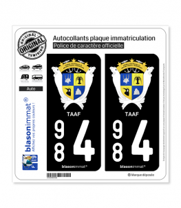 984 TAAF - Armoiries | Autocollant plaque immatriculation