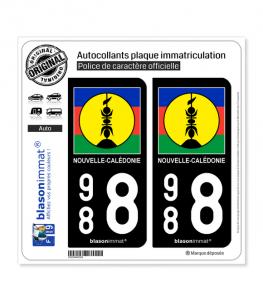988 Nouvelle-Calédonie - Drapeau Kanaky | Autocollant plaque immatriculation