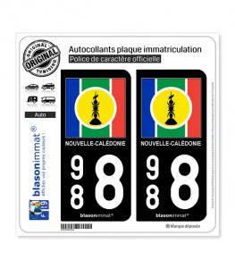 988 Nouvelle-Calédonie - Drapeau | Autocollant plaque immatriculation