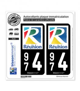 974 Réunion - Département | Autocollant plaque immatriculation