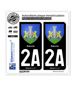 2A Aiacciu - Armoiries | Autocollant plaque immatriculation