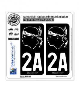 2A Corsica - Tête de Maure | Autocollant plaque immatriculation