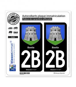 2B Bastia - Armoiries | Autocollant plaque immatriculation