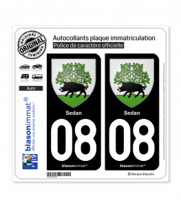 08 Sedan - Armoiries | Autocollant plaque immatriculation