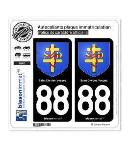 88 Saint-Dié-des-Vosges - Armoiries | Autocollant plaque immatriculation