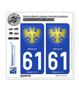 61 Alençon - Armoiries | Autocollant plaque immatriculation