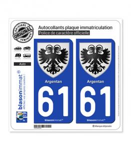 61 Argentan - Armoiries | Autocollant plaque immatriculation