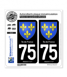 75 Ile-de-France- Armoiries | Autocollant plaque immatriculation