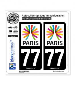 77 Ile-de-France - Paris Région | Autocollant plaque immatriculation