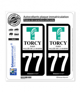 77 Torcy - Ville | Autocollant plaque immatriculation