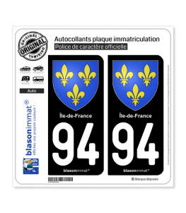 94 Ile-de-France - Armoiries | Autocollant plaque immatriculation