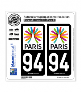 94 Ile-de-France - Paris Région | Autocollant plaque immatriculation