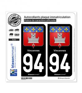 94 Vincennes - Armoiries | Autocollant plaque immatriculation