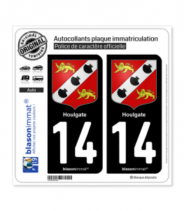14 Houlgate - Armoiries | Autocollant plaque immatriculation