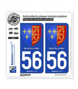 56 Belle-Ile-en-Mer - Armoiries | Autocollant plaque immatriculation