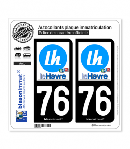 76 Le Havre - Ville | Autocollant plaque immatriculation
