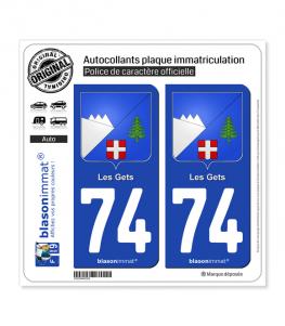 74 Les Gets - Armoiries   Autocollant plaque immatriculation