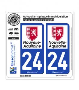 24 Nouvelle-Aquitaine - Région | Autocollant plaque immatriculation