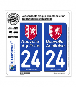 24 Nouvelle-Aquitaine - Région II | Autocollant plaque immatriculation