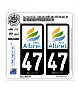 47 Albret - Pays | Autocollant plaque immatriculation
