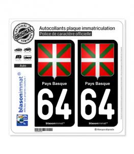 64 Pays Basque - Écusson | Autocollant plaque immatriculation