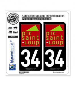 34 Pic Saint Loup - Pays | Autocollant plaque immatriculation