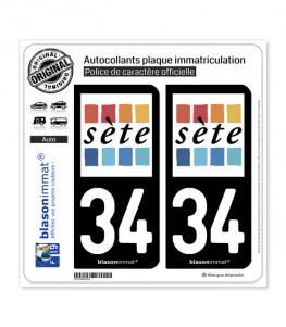 34 Sète - Ville | Autocollant plaque immatriculation
