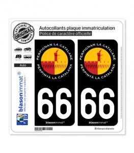 66 Perpignan - La Catalane | Autocollant plaque immatriculation