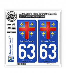 63 Clermont-Ferrand - Armoiries | Autocollant plaque immatriculation