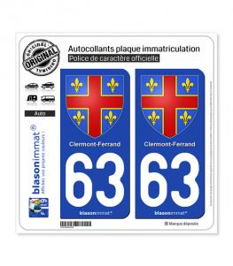 63 Clermont-Ferrand - Armoiries | Autocollant plaque immatriculation