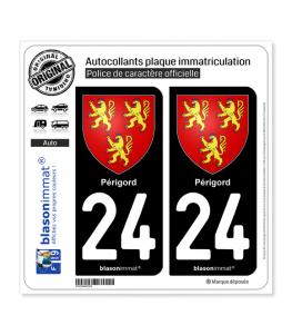 24 Périgord - Armoiries | Autocollant plaque immatriculation