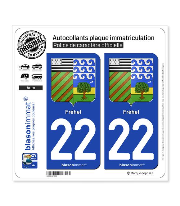 22 Fréhel - Armoiries | Autocollant plaque immatriculation
