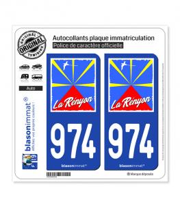 974-H Réunion - Rényon Drapée | Autocollant plaque immatriculation