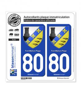 80 Fort-Mahon-Plage - Armoiries | Autocollant plaque immatriculation