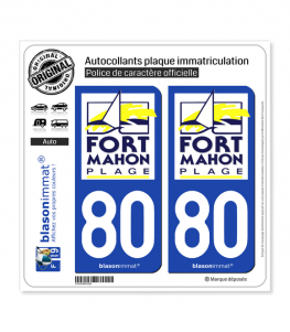 80 Fort-Mahon-Plage - Ville | Autocollant plaque immatriculation