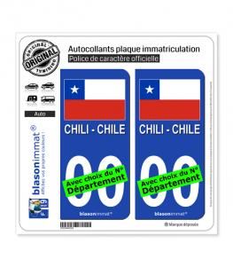 Chili - Drapeau | Autocollant plaque immatriculation