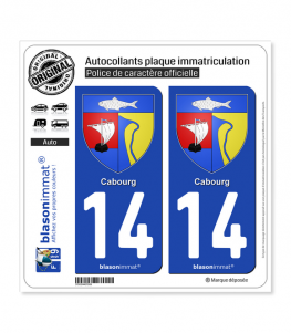 14 Cabourg - Armoiries | Autocollant plaque immatriculation