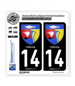 14 Cabourg - Armoiries   Autocollant plaque immatriculation