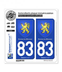 83 Bormes-les-Mimosas - Armoiries | Autocollant plaque immatriculation