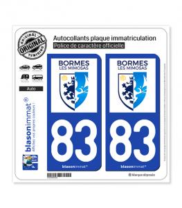 83 Bormes-les-Mimosas - Ville | Autocollant plaque immatriculation