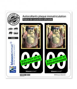 Bouddha - Bienheureux | Autocollant plaque immatriculation (Fond Noir)
