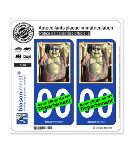 Bouddha - Bienheureux | Autocollant plaque immatriculation