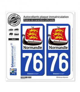 76 Normandie - Drakkar 3 Léopards | Autocollant plaque immatriculation
