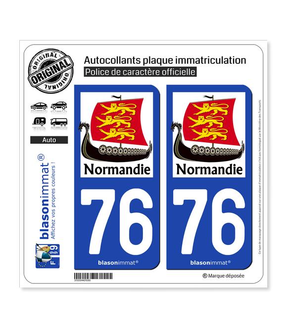 76 Normandie - Drakkar 3 Léopards   Autocollant plaque immatriculation