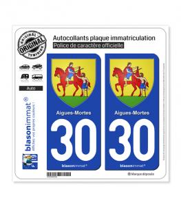 30 Aigues-Mortes - Armoiries | Autocollant plaque immatriculation