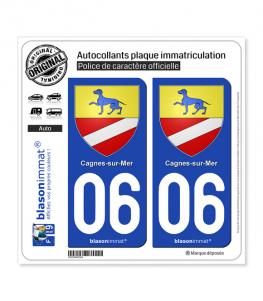 06 Cagnes-sur-Mer - Armoiries | Autocollant plaque immatriculation