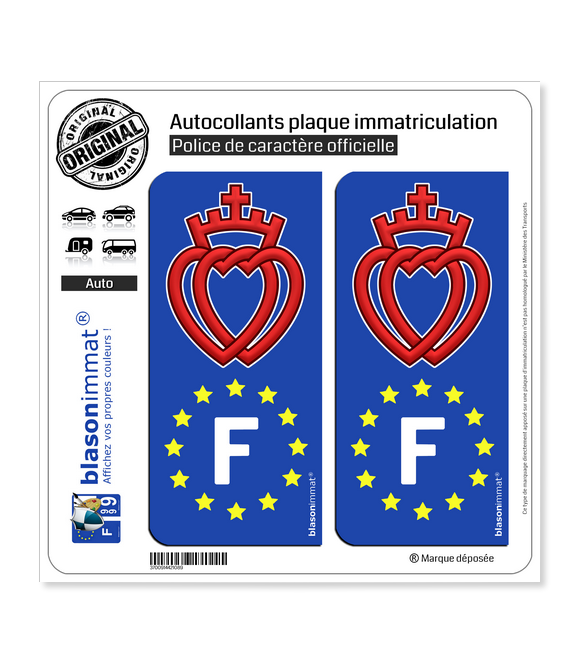 F Coeur Vendéen - Identifiant Européen | Autocollant plaque immatriculation