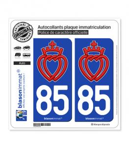 85 Vendée - Coeur Vendéen | Autocollant plaque immatriculation