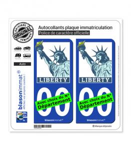 Liberty - Statue Liberté | Autocollant plaque immatriculation
