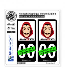 La Casa de Papel - Masque | Autocollant plaque immatriculation (Fond Noir)